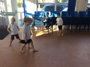 We created movements linked to space by listening to music and matching our movements to the tempo.