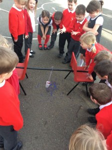 This term the children have been exploring different ways of making marks. They looked at the work of artists and then experimented with different tools and methods. As an activation, the children went outside to explore the pendulum method. They loved watching the paint pour out of the cup as it swung.