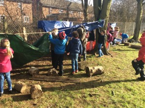 The children demonstrated resilience by working hard to get the den built.
