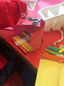 We also used lolly sticks and paper to make a roof and sides to create shelter.