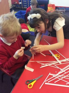 The most popular activity was using art straws, tissue paper and mini pegs to create dens.