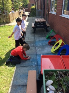 The children have been using the outdoor area to build and embed their skills. They have been aiming at phonics targets using bean bags. When they hit their target they then needed to record a word using that digraph.