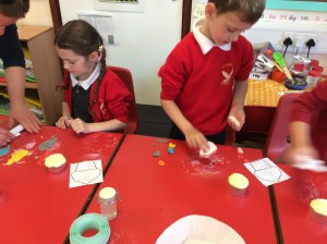 We have been decorating cupcakes using the theme of The Lighthouse Keeper's Lunch.
