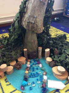 The fairies came to visit the children this week. There has been so much rain that the fairies had to move their house inside the school so that they didn't wash away.