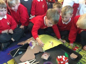 The children either decided to make boats to test which materials could float or they made a roof for the three pigs house and tested which materials were waterproof.