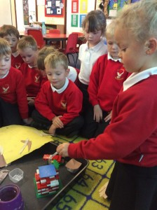 The children have been testing materials. They came up with different ideas about the kinds of tests they could carry out using what they had learnt about the properties of the different materials.